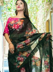 Impeccable Faux Georgette Digital Print Work Designer Saree