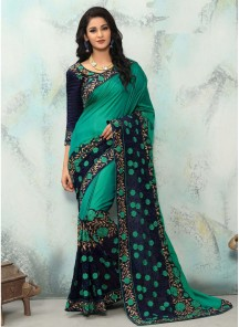 Impeccable Paper Silk With Georgette Embroidery Work Classic Saree