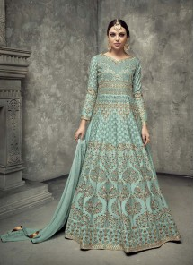 Impeccable Tussar Silk Turquoise Floor Length Anarkali Suit