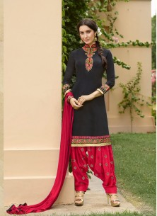 Imperial  Black With Red Cotton Embroidery Patiyala Suit