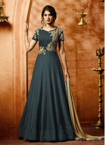 Imperial Faux Georgette Embroidery With  Stone Work Floor Length Anarkali Suit