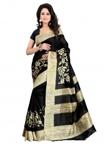 Imposing Black Printed Bhagalpuri Silk Saree