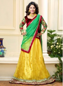 Imposing Net Embroidered Work A Line Lehenga Choli