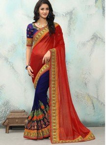 Impressive Blue And Red Embroidery Work Georgette With Smoke Georgette  Half N Half Saree