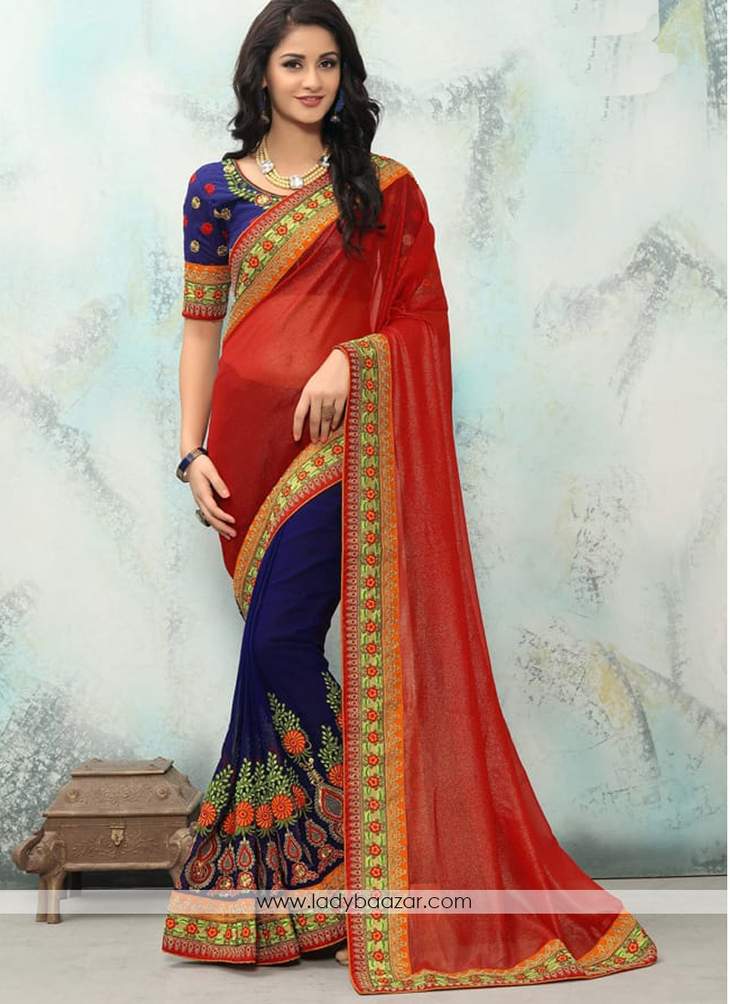 Impressive Blue And Red Embroidery Work Georgette With Smoke Georgette Half  N Half Saree 31cd6ae5a2