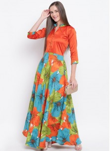 Impressive Digital Printed Readymade Trendy Gown