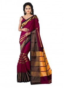 Impressive Maroon Color Digital Printed Cotton Silk Saree