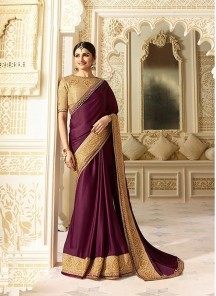 Impressive  Silk Embroidery Work Designer Win  Saree