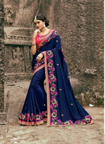 Impressive Silk Navy Blue Embroidery Work Designer Saree