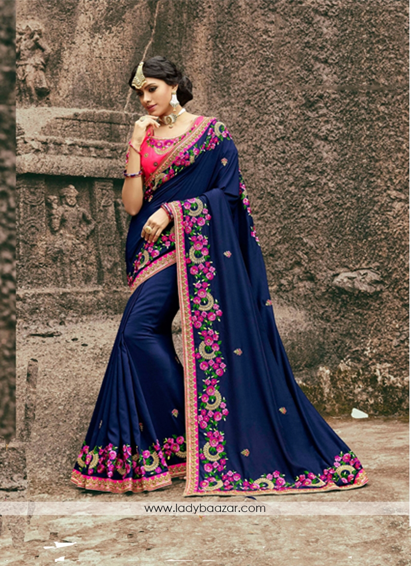 62da0a83f2 Impressive Silk Navy Blue Embroidery Work Designer Saree