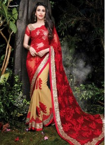 Incredible Georgette Red Patch Border Work Designer Half N Half Saree