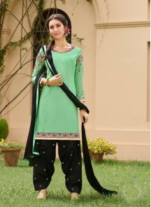 Incredible Green Cotton Embroidery Work Patiyala Suit