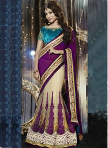 Incredible Net Purple Designer Lehenga Saree