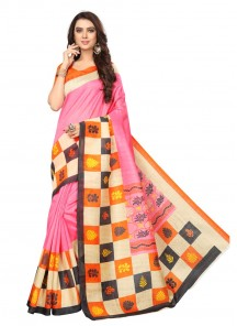 Incredible Pink Printed Casual Saree