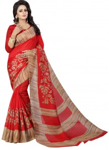Incredible Red Printed Casual Saree