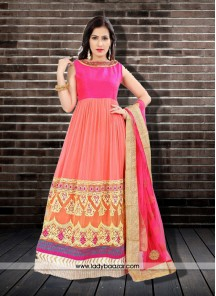 Innovative Embroidered Work Anarkali Salwar Kameez