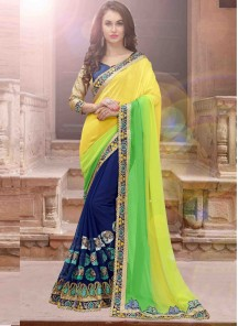 Innovative Georgette Lemon With Blue Designer Half N Half Saree