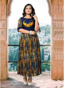 Innovative Multi Embroidery With Printed Rayon Party Wear Kurti