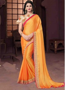 Innovative Orange Chiffon Embroidery Classic Saree