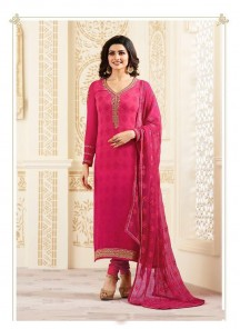 Innovative Pink Georgette Embroidery Work Straight Suit