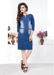Innovative Print Work Denim Blue Party Wear Kurti