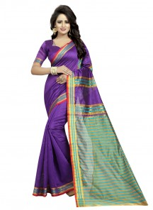 Integral  Violet Color Cotton Silk Printed Saree