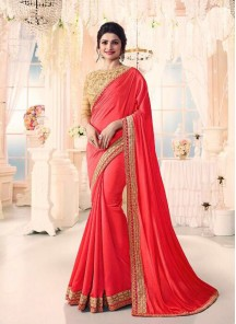 Intricate Embroidery  Work Georgette With Silk Designer Saree