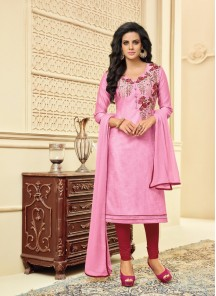 Intriguing Chanderi Pink Embroidery Work Salwar Suit