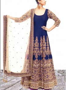 Intrinsic Embroidered Work Blue Georgette Designer Pakistani Suit