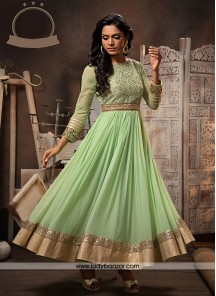 Invaluable Green Anarkali Salwar Kameez