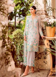 Invigorating Embroidered Work Gray Designer Straight Suit