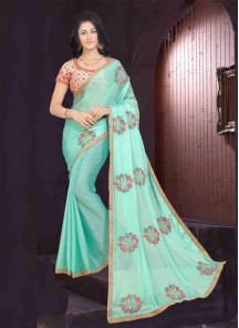 Irresistible Chiffon  Turquoise Embroidery Designer Saree