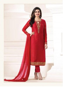 Jazzy Brasso Red Embroidery Work Straight Suit