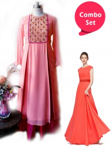 Jazzy Gorgette Gown & Faux Georgette With Tapeta Silk Ghera Embroidered Designer Suit - Pack of 2