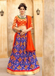 Jazzy Jacquard  Silk Orange Print Work Lehenga Choli
