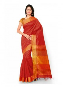 Jazzy Orange Cotton Printed Saree