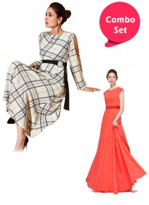 Jazzy Partywear Goregette Gown & Checked Printed Gown - Pack of 2