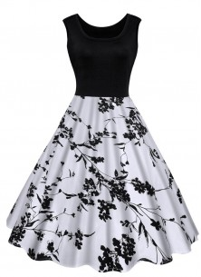 Jazzy Reyon With Crepe Black N White Printed Frock