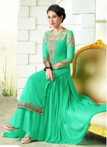 Karishma Kapoor sea green Georgette Anarkali Suit