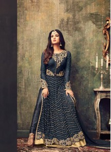 Lace Net Floor Length Anarkali Suit In Teal