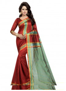 Latest Red Color Cotton Silk Casual saree