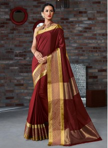 Lavish Cotton Silk Printed Maroon Casual Saree