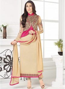 Lavish Georgette Cream Embroidery Work Straight  Suit