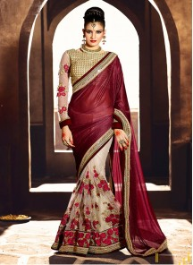 Lavish Maroon Patch Border Work Georgette Designer Half N Half Saree