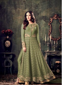 Light Mehndi  Net Floor Length Anarkali Suit