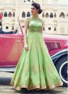 Light Parrot Green Banglori Silk Pure Hand Work Stitched Anarkali Suit
