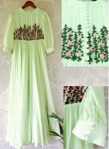 Light Parrot Green Embroidered Work Stitched Designer Wear Gown.