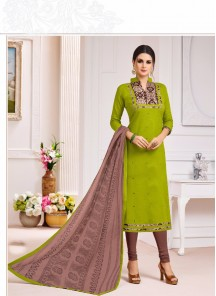 Lively Green Cotton Embroidery Work Straight Salwar Suit