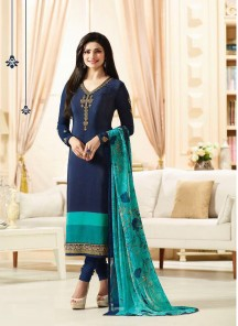 Lively Navy Blue Crepe Embroidery Work Salawar Kameez