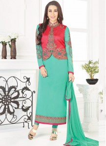 Lively Turquoise Embroidery Work Georgette Designer Suit